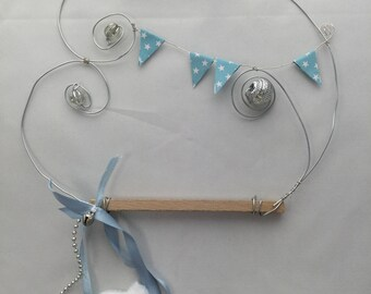 cloud wire wood beads, ribbons
