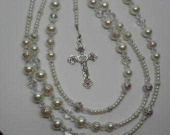Wedding Lasso, wedding Lazo, Wedding Rosary with Shamrock Madnonna and Child Medals And Crucifix (WL2)