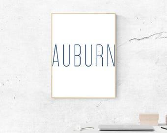 Auburn Blue Print, Digital Print, War Eagle, Auburn Art, Digital Download, SEC Art, Most Popular