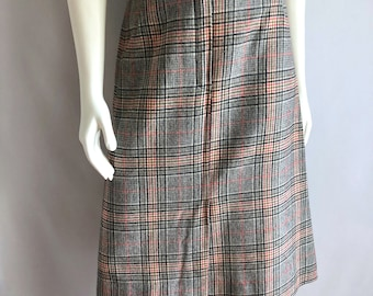 Vintage Women's 80's Skirt, Plaid, Aline, Wool, Polyester by De Lai (M)