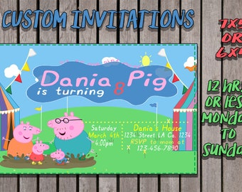 Peppa pig custom invitations 12hrs or less, monday to sunday