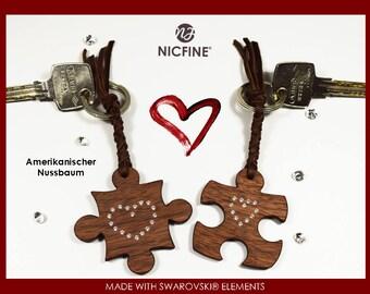 Wooden keychain pair, with Swarovski elements