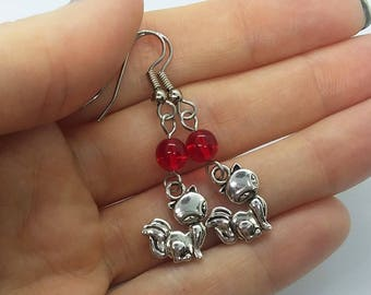 Red Kitty Cat Earrings (Pierced or Clip-On)