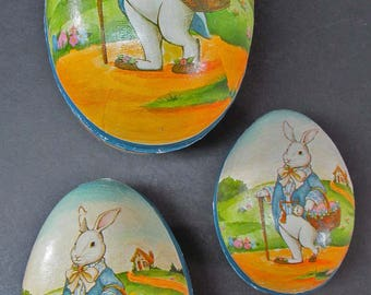 "Easter 119 Egg Candy Container Paper Set of 3 Nesting 8"" 6"" 5"" Vintage Midwest Nesting Style"