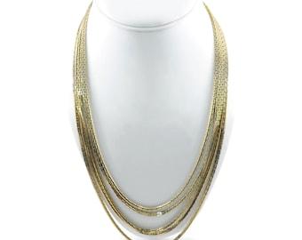 Vintage, Multi Chain, Necklace, Gold Tone, Five Strand