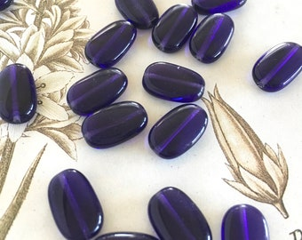Vintage Czech Glass Beads, Indigo Violet Beads, 14 x 8mm, 20pcs