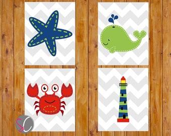 Nautical Theme Child's Bedroom Nursery Decor Starfish Whale Lobster Navy Lime Green Red Bathroom Wall Art 8x10 JPG (141)
