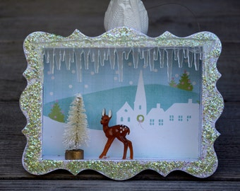 Shadow Box Deer Ornament Handcrafted