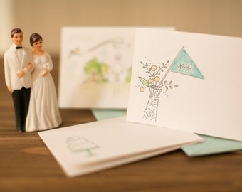 milk glass vase and pennant wedding card