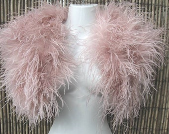 Vintage Blush Pink Ostrich Feather Bolero / Caplet - Vintage Chic Glamour - New Colour / Trend