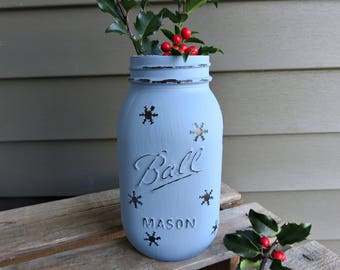 Blue Snowflake Mason Jar, Distressed Mason Jar, Rustic Farmhouse Decor, Christmas mason jars, Mason Jar Candle Holder, Christmas Mason Jar