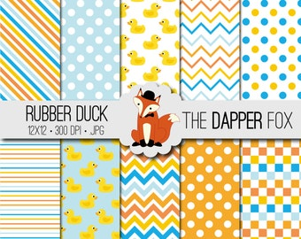 Rubber Duck Digital Paper Pack - INSTANT DOWNLOAD - 12x12 - Baby Shower - Rubber Ducky - blue yellow orange