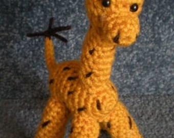 Hand Crocheted Baby Giraffe Doll Amigurumi Animal Yellow with brown spots Made To Order