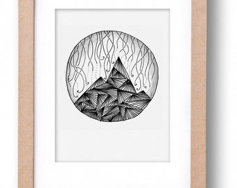 """""""MOUNTAIN"""" illustration-hand made black and white illustration of a landscape"""