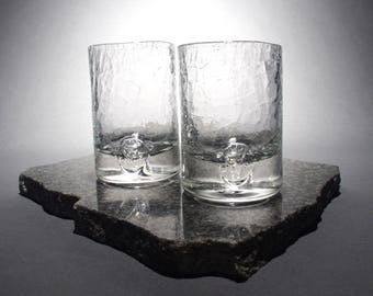 Crackled Clear Lowball Glass