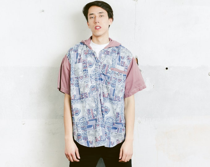 Men Hooded Shirt . Vintage Short Sleeve Cotton Shirt Abstract Print Unisex Top Hipster Outfit Patterned 90s Shirt . size Medium M
