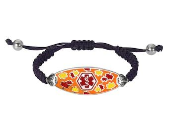 Divoti Custom Engraved Serene Maple Medical Alert Bracelet - Black Macrame Chain -Red-13396RE - Adjustable