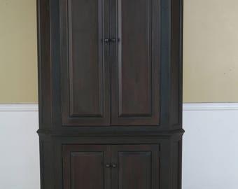 43728EC: DR DIMES Black Crackle Finish Primitive Country Corner Cabinet