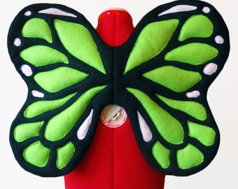 Green Monarch Butterfly Wings. Fairy, Felt, No Wire. Original design.