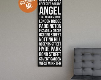 LONDON Subway Bus Scroll Sign - Gallery Wrapped Canvas Print.