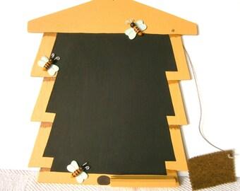 Golden beehive blackboard - yellow chalkboard - honeybees blackboard - bumblebee blackboard - bees message board.