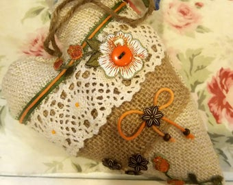 Handmade Burlap Heart,Hanging Burlap Heart Decoration, Wall Country handmade hear ,Farmhouse Chic , Hanger Home Decor