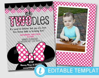 Oh Twodles Invitations Minnie Mouse Inspired Printable Template Instant Download Editable Girls Birthday Party Pink 5x7 FREE Thank You Cards