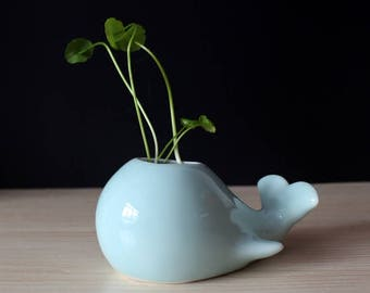 Blue Whale Planter, Water themed, Marine themed, plant holder, cute, little