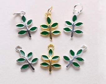 5PCS Sterling Silver Green Leaf Charm Gold Enamel Olive Branches Nature Jewelry Making Gold/Silver/White gold 9*13MM