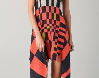crochet asymmetric  multicolored  dress, gift ideas,summer clothing,orange, light grey,brown, black,yellow,handmade,dress with straps