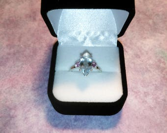 Aquamarine and Pink sapphire Ring, Natural Marquise Cut Aquamarine Flanked by Pink Sapphires Size 7