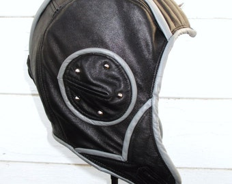 "Retro ""Swoop""  Aviator Hat in Black/ Gray Leather w Studs"
