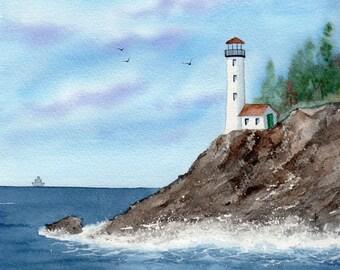 SFA watercolor original LIGHTHOUSE  ocean shore pacific nw