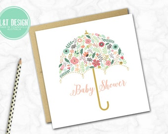 Floral Umbrella Baby Shower Card