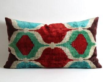 ikat pillow cover, velvet pillow cover, toss pillow, decorative pillows, handmade, ikat velvet, silk, pillow covers, pillows,designer pillow