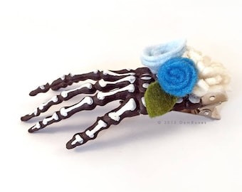 Blue Skull Hand Hair Clip // Valeninte Gift // Gothic Lolita // Skeleton Hand Clip //  Pastel Goth, Skull Hand Hair Clip