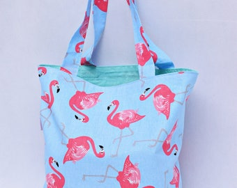 Shopping bag, Bag for grocery, Cotton Tote Bag, reusable bag, cotton bag, shopper bag, flamingo bag, colorful bag, gift idea, gift for her