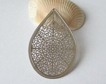 2 Pcs - Rhodium Plated Over Copper Laser Cut Filigree Chandelier Earring Findings,Pendant,Earrings,Jewelry Findings,Links (49x32MM) SL0920