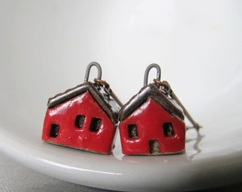 House Earrings, Copper Earrings, Stoneware Earrings, Stoneware Houses, Clay Earrings, Red and Black, Red Houses