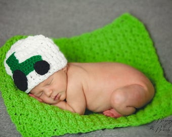 Farming Hat, Baby Tractor Hat, Baby Boy Hat, Baby Girl Hat, Green Tractor, Newborn Prop, Baby Photo Prop, Little Farmer, Toddler Farm Hat