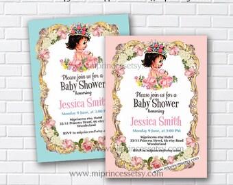 Baby Shower Invitation, baby girl Retro baby shower invitation it's a girl baby Shower Design, vintage baby - 809