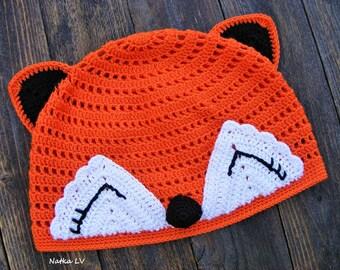 Girl's crochet fox hat, summer children's hat, funny kid's hat, 4-5 years, animal hat, hat with ears, hand made, orange crochet fox beanie