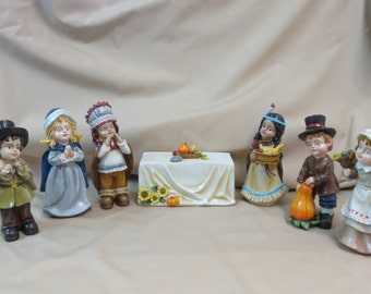 Thanksgiving resin set of 7 with 2 girl and 2 boy Pilgrims and 2 Indians