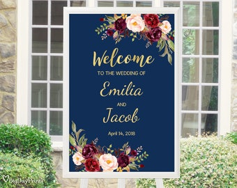 Navy Wedding Welcome Sign, Welcome Wedding Sign, Printable Wedding Reception Sign Template, Burgundy, Marsala, #A066, Editable PDF