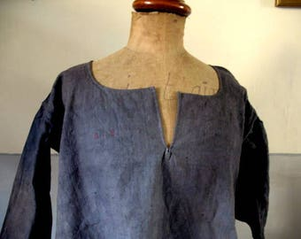Antique French, unworn (new old stock)  chanvre, hemp, chemise, dress. Dyed blotchy lead grey - Monogrammed BS 75euro