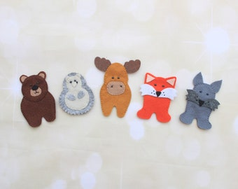 Felt finger puppets Woodland animals finger puppets Forest animals puppets theatre preschool educational toys toddler learning marionette