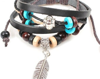 Black Leather Bracelet with Feather Charm