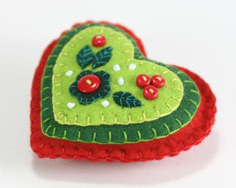 Felt Christmas ornament, Red & Green heart Christmas ornament, Handmade Christmas ornament, Felt heart decoration, Heart Christmas ornament