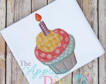 Birthday Cupcake Embroidery Design Machine Applique