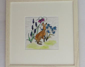 Framed Textile Picture of Hare with Flowers Embroidered and Painted cotton Original Textile Art Picture Handmade OOAK